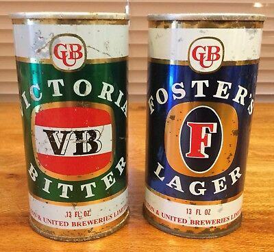 VB Victoria Bitter. & Fosters Lager. 13FL.OZ. Ring Pull Steel.Beer Cans. x 2