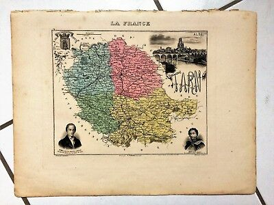 """1879, Ancienne Carte """" Tarn """",migeon,pinel,albi,castres,soult,gaillac,pampelone"""