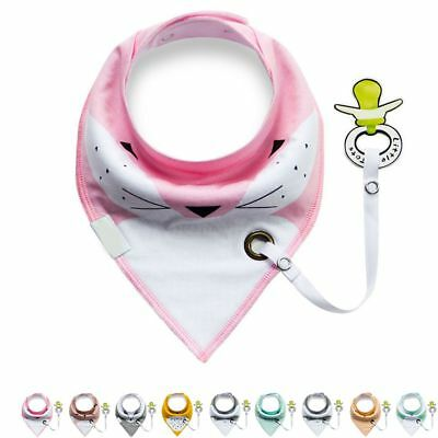 Baby Infant Toddler Cartoon Cotton Bibs Saliva Towel with Pacifier Clip Soft