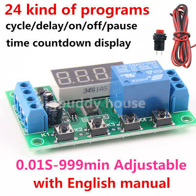 DC 12V Infinite Cycle Delay Timer Relay on/off Switch Module Programmable 999min