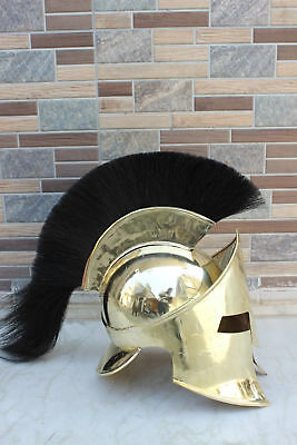 Medieval Greek Brass Spartan Helmet Black Plume Spartan Armour Helmet Best Gift