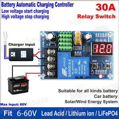 LED 30A 12V 24V 36V 48V 60V Battery Charger Automatic Charging Controller Module