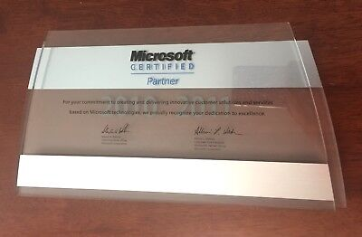 Collectable MICROSOFT Certified Partner Double Layer Display Plaque Sign 2010-11