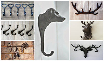 Vintage Cast Iron Hooks Shabby Chic Heart Love Heart Dog Stag Antler Key Antique