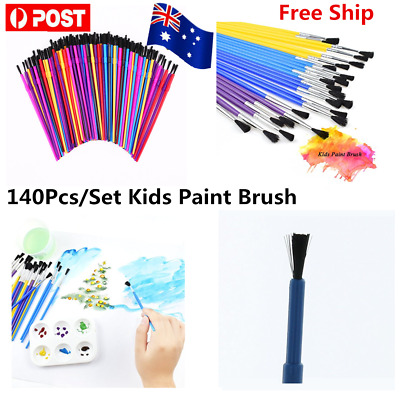 140/280Pcs Assorted Color Plastic Watercolor Kids Beginner Craft Paint Brushes