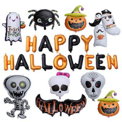 Halloween Carnival Pumpkin Foil Balloons Happy Haunted House Party Bar Decor NEW