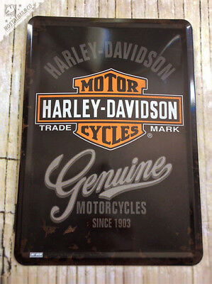 HARLEY DAVIDSON - GENUINE Motorcyles Oil Metal Postcard Mini Tin Sign Card