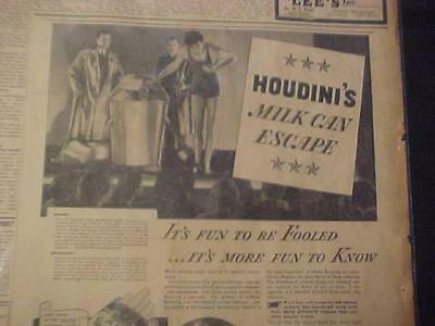 Antique~ Rare Magician Harry Houdini Magic Milk Can Escape Ad~ Vintage Orig 1933