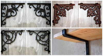 Vintage Cast Iron Steel Shelf Wall Bracket Shabby Chic Antique Black Rustic