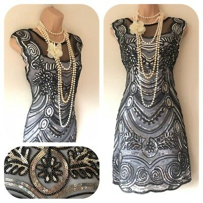 NWT Sequin Embellished Flapper 20's Gatsby Party Dress Christmas Evening 8 - 14