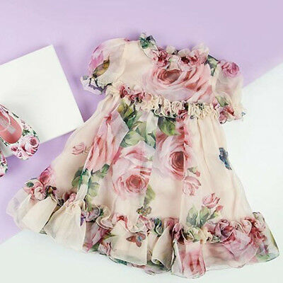 UK Canis Newborn Kid Baby Girls Floral Party Pageant Tulle Formal Dress Sundress