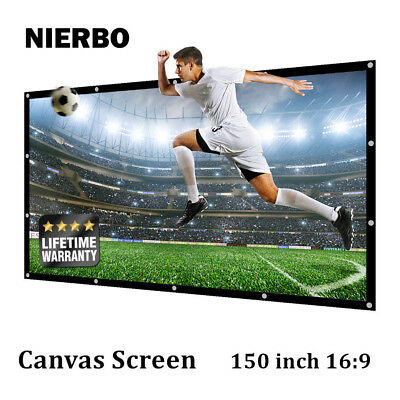 150 Inch White Canvas Projector Projection Screen 16:9 Outdoor Home Theater DIY