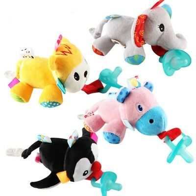 Toddler Baby Dummy Pacifier Clip Cute Animal Toy Plush Soother Nipples Holder US