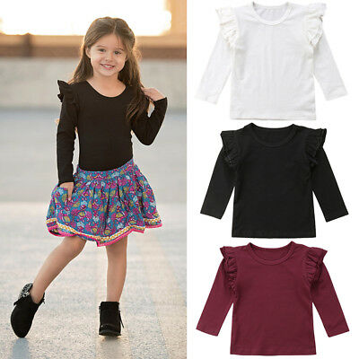 Toddler Baby Girl  Kids Solid Color Tops Tee Cotton Clothes Ruffles Cute T-shirt