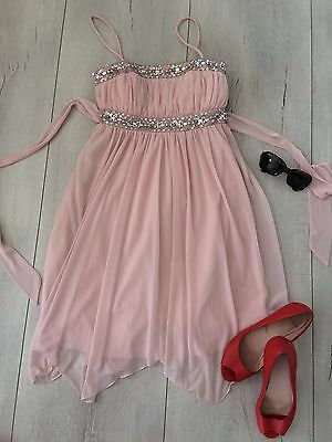 City Triangles Uk8 S Asos Dress Nude Pink Sequin Flippy  Flare Knee Occasion