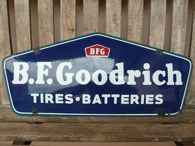 "old  B.F. GOODRICH porcelain steel sign 24"" convex tires advertising service"