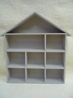 House Shape Wooden Display Shelf Unit -  Hand Painted - For Small Ornaments etc