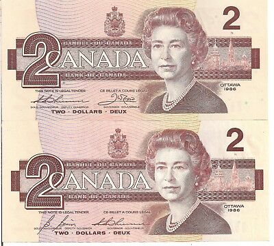 Canada 1986 UNC Lot of Two.Two Dollar Banknotes. Bonin,Thiessen, Crow Signatures