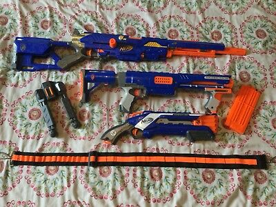 Nerf Gun Bundle (Long Strike CS-6, Raider CS-35, Roughcut 2x4, 12 Dart Magazine)
