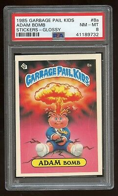 1985 Topps Garbage Pail Kids ADAM BOMB LICENSE #8a GLOSSY Card ***PSA 8***