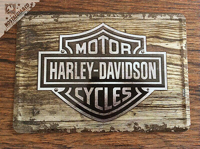 HARLEY DAVIDSON - WOOD Logo Motorcyles Metal Postcard Mini Tin Sign Card gift