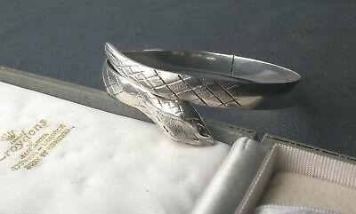"Vintage Solid Silver Serpent Snake Bangle 7""  925 Sterling Ruby Colour Eyes"