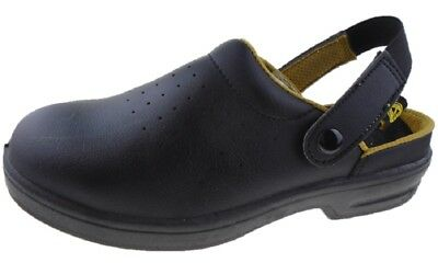 Unisex STEEL TOE CAP Slip On Work Safety Shoes Chef Clogs Size UK 5 - UK 12
