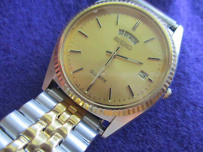 Vintage Seiko Two-Tone White & Yellow Gold Men's Watch, Day & Date, 5Y23-8C9L