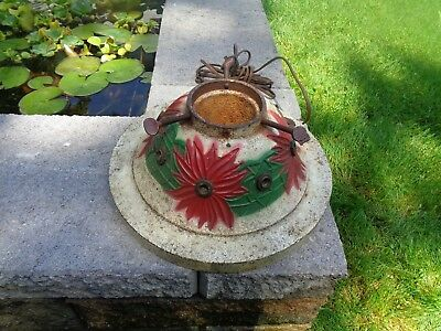 Vintage Cast Iron Christmas Tree Stand Poinsettias Light Up With Outlet