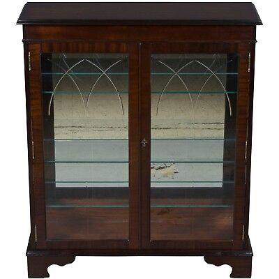 Antique Style Etched Glass Door Mahogany Bookcase Display Cabinet China Small