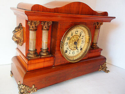 Antique SETH THOMAS Rosewood Egypian Sphinx Lions Adamantine Clock SHOULD WORK