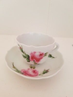 Meissen Pink Rose Cup and Saucer Set  1924-1934  Blue Cross Sword Mark