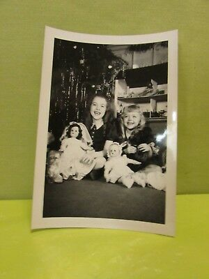 Antique Photo 1947 Two Little Girl's With Dolls