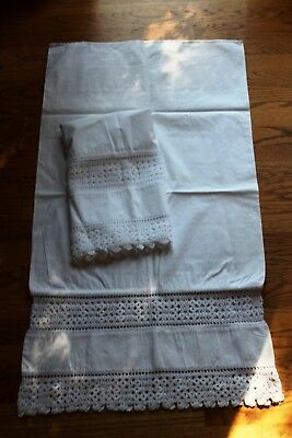 BED & BREAKFAST DOWNSIZING / Victorian Lace & Crochet Pillowcases /Snow White A+
