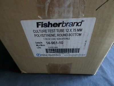 Approx (900) Fisherbrand 12 x 75mm Culture Test Tube, Round Bottom, 14-961-10