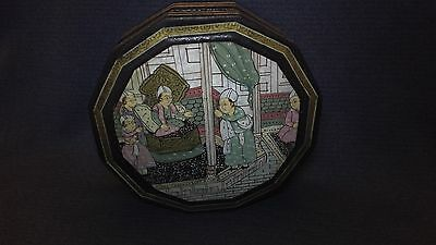 Antique Hand Painted Kashmir India Black Lacquer Box Stunningly Beautiful Piece