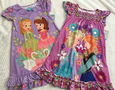 Lot Of 2 NWT DISNEY STORE NIGHT GOWN 5/6