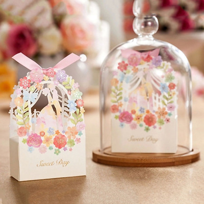 50pcs Favor Ribbon Gift Box Candy Boxes Wedding Boxes Gift Favor Flower Party