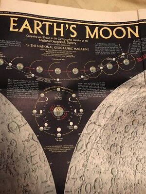 Vintage National Geographic 1969 Map The Earth's Moon Map Lunar Astronomy