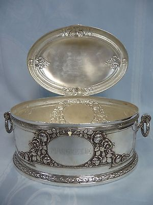 Beautiful Antique Silver Plate Repousse Casket/Hinged Box - Engraved - 1916