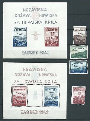 Croatia 1942 Aviation Fune Set & Minisheets Mnh See Both Scans For Condition