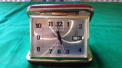 VINTAGE Wind Up Europa 2 Jewels Folding Travel Alarm Clock