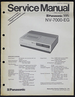 PANASONIC NV-7000-EG Original Supplement Service-Manual/Diagram/Parts List o181