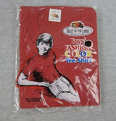 NEW Vintage Fruit of the Loom Boys Fashion Color T Shirt XL 14-16 Red