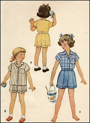 1940s Vintage Girls Play Suit Cuffed Shorts + Blouse Sewing Pattern Child 8