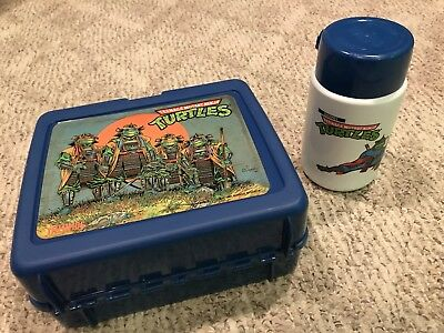 Teenage Mutant Ninja Turtles 3 Lunch Box 1991 Thermos III TMNT Turtles In Time