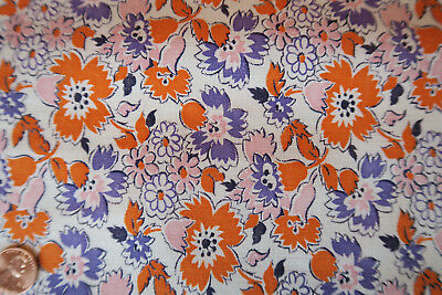 One VINTAGE FEEDSACK Orange Purple Pink Flowers  UnOpened  35x23 (46) Pristine!