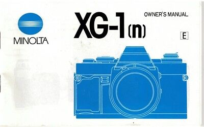 Minolta XG-1(n) Owners Manual Instruction Booklet