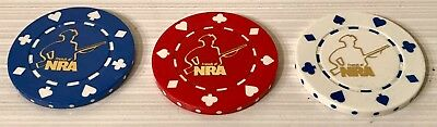 3 NRA Clay Poker Chips Golf Ball Markers Retired Patriot Logo National Rifle