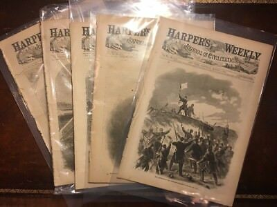 ABRAHAM LINCOLN Harpers Weekly LOT OF 5 Authentic from 1862 Civil War